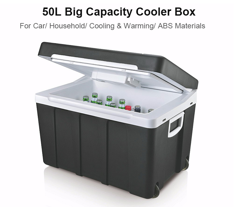 50L Eletronic Chilly Bin DC12V AC110-230V Car Cooler and Warmer Cooler Box 12V with Wheels