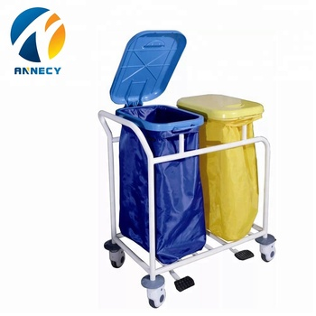AC-WT008 Powder coating steel hospital laundry medical waste trolley bom with specification