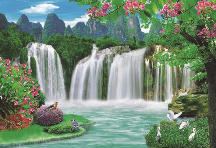 Beautiful Scenery Waterfall Paper Painting