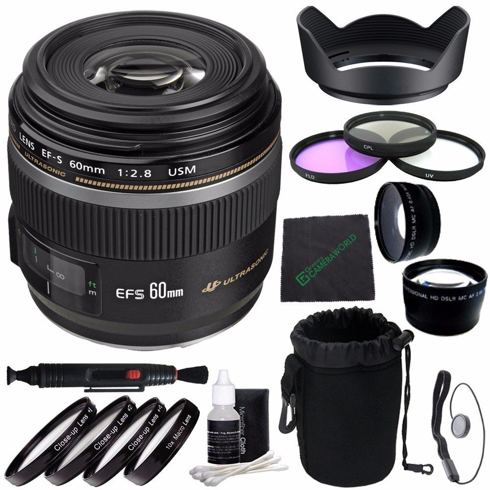 Canon EF-S 60mm f/2.8 Macro USM Lens + 52mm 3 Piece Filter Set (UV, CPL, FL) + 52mm +1 +2 +4 +10 Close-Up Macro Filter Set with Pouch + SLR Lens Pouch + Lens Cleaning Pen + Lens Hood Bundle 3