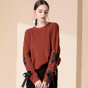 Hot sale sexy open brown knit sweaters lace up for women