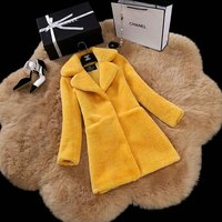 Europe style women's winter real lamb sheep fur coat made in China