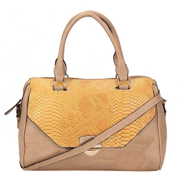 2016 new picture of bags angola leather bag with snake embossing handbag