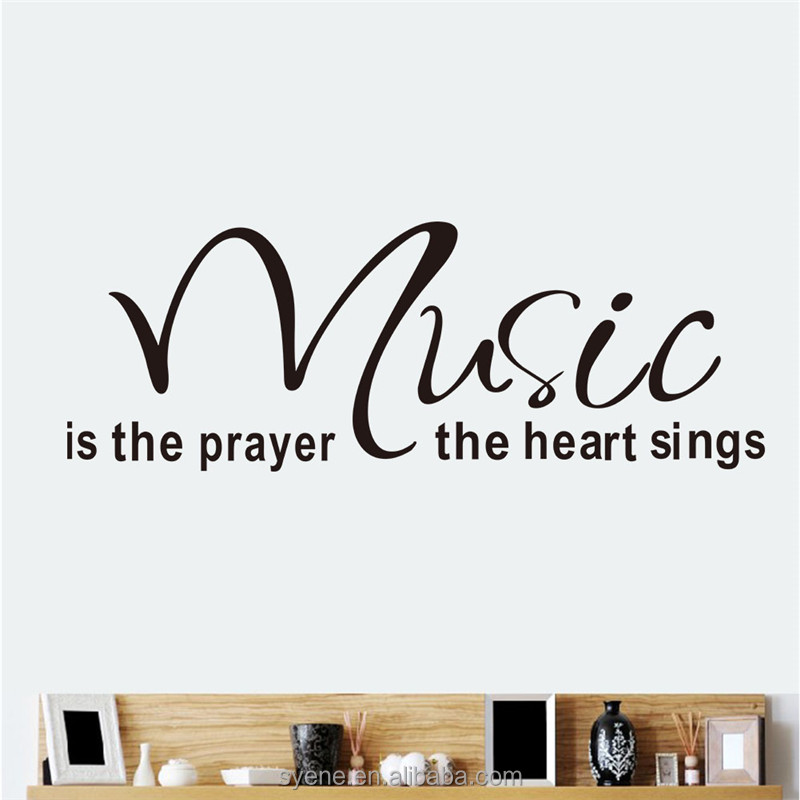 decorative wall stickers music wall decals art vinyl quotes music is the prayer the heart sings room decor 3d wall stickers
