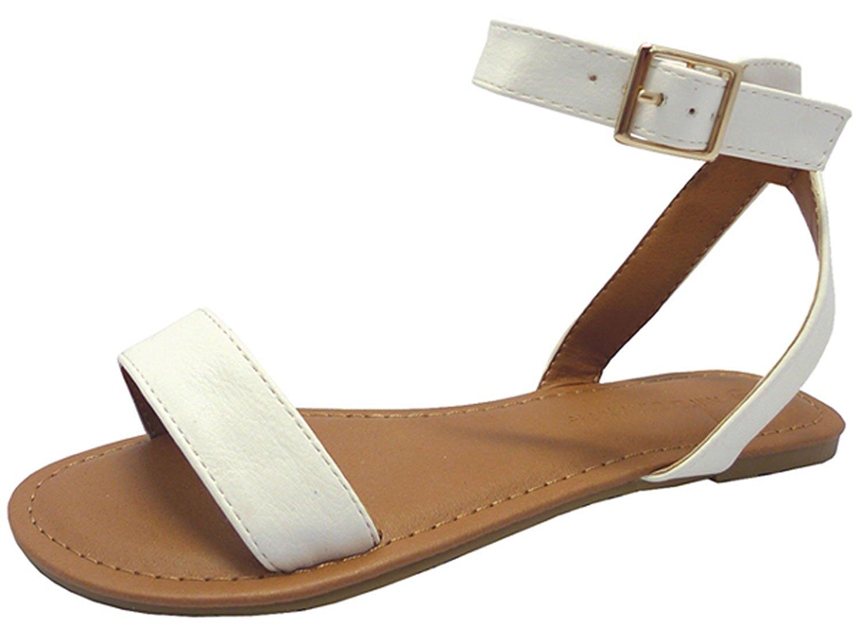 e846993e0d62 Get Quotations · Wild Diva Women s Strappy Ankle Wrap Flat Sandal