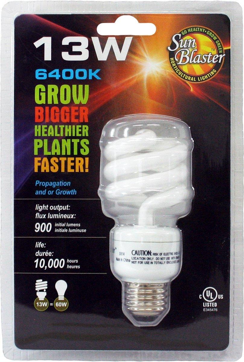 SunBlaster CFL Self ballasted Propagation lamp, 6400K Light Spectrum, 13 Watt, Fits Standard Size Light Socket