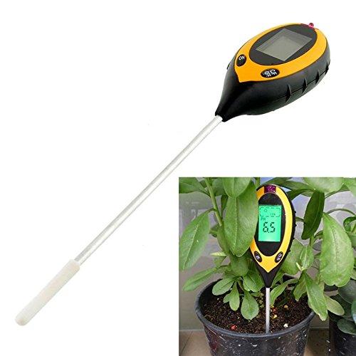 Balight 4-in-1 Soil Moisture Sensor Meter - Soil Moisture Monitor- Soil PH Value- Soil Temperature and Sunlight Intensity Tester, Hydrometer good for Gardening, Farming, Indoor/Outdoor