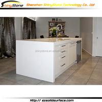 Translucent modern restaurant solid surface kitchen cabinet depot