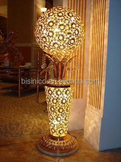 Luxury Golden Flower Vase Floor Standing Chandelier Lamp