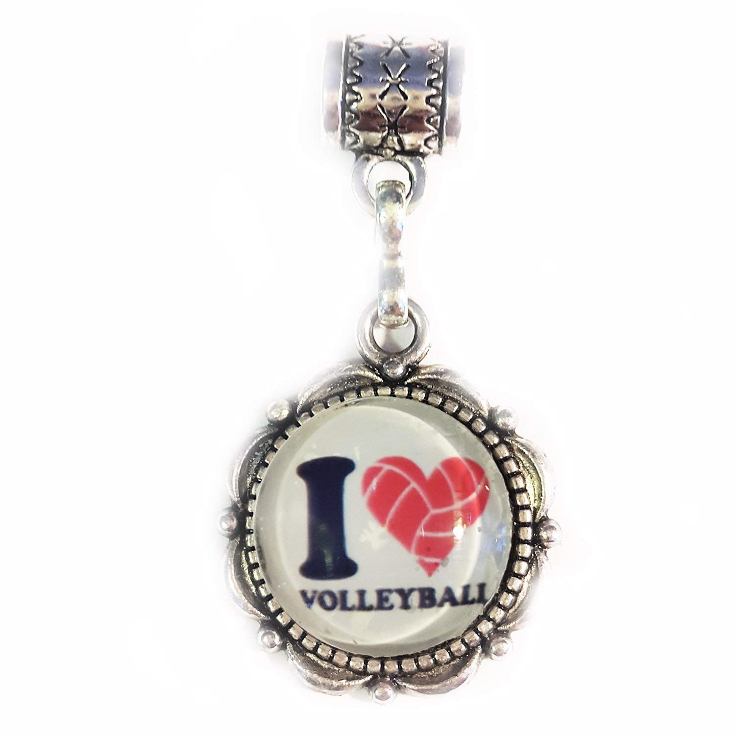 """I Love Volleyball"" antique Silver Hanging charm for large hole style charm bracelets"