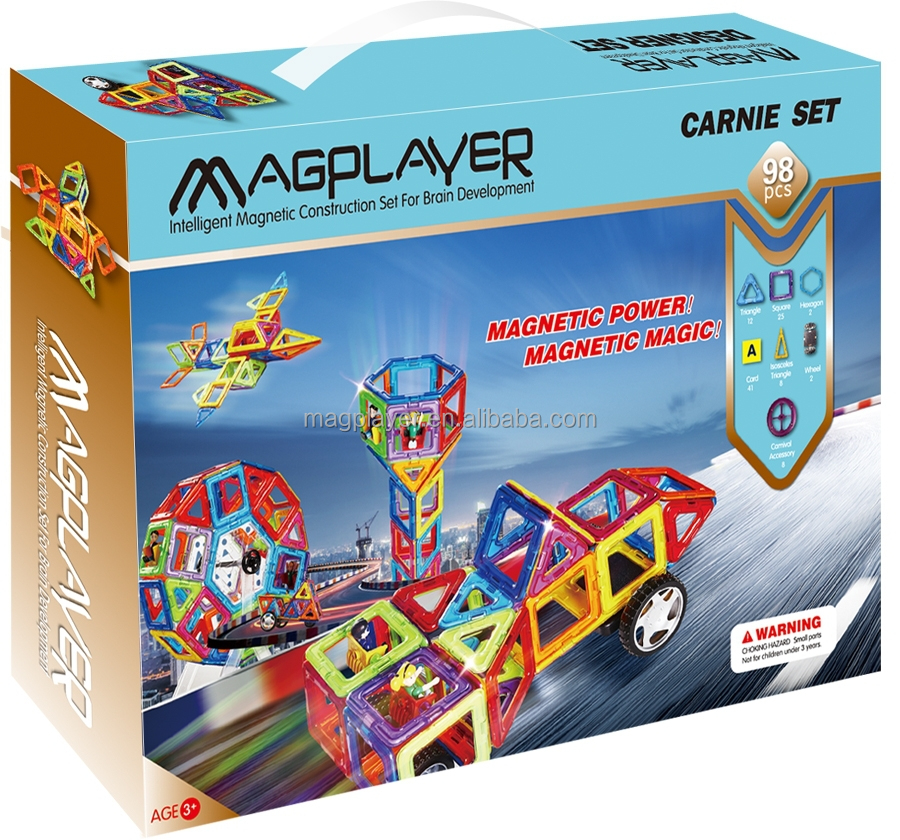 Magnetic Assemble Toys Magplayer 98 Pieces Magnetic Building Block Toys Set for <strong>Kids</strong>