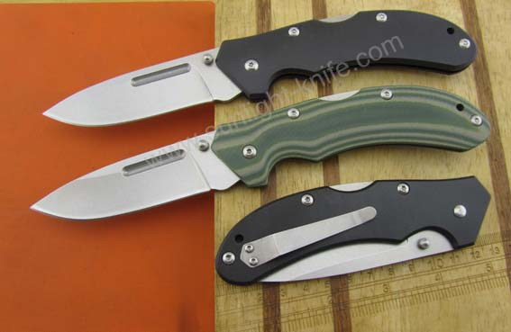 White stone wash 420 blade with G 10 handle with utility emergency pocket knife