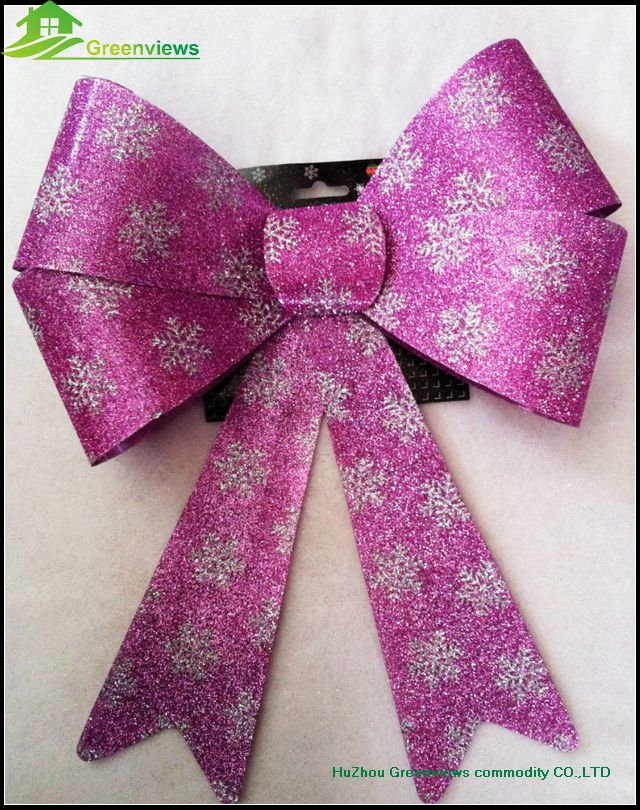Wholesale Festival Items Pvc Glitter Christmas Bow Red Outdoor