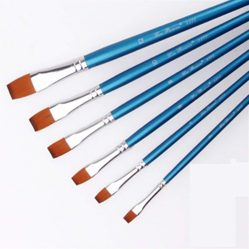Royarebar Set of 6 pcs Nylon Hair Watercolor/Oil Painting Brush(Wooden,Blue,Flat Brush)