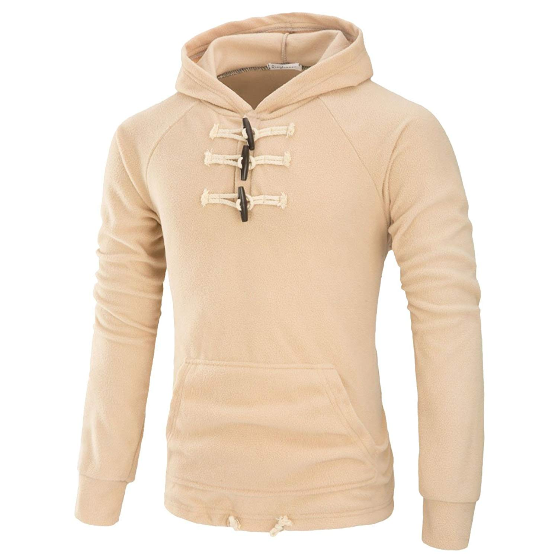 UUYUK-Men Autumn Solid Hoodies Pullover Sweatshirt Outwear Toggle Coat