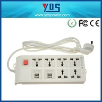 electric 2 pin and 3 pin socket with wall switch with 6Way 7 Way with 4USB outlet
