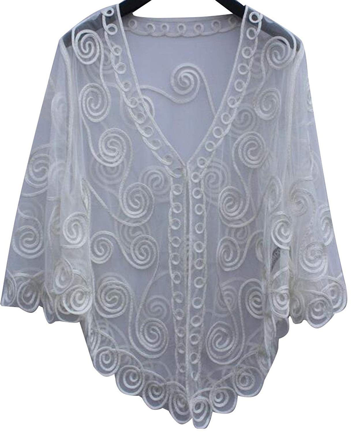 ed3ef1d2a85 Get Quotations · Summer Shawl Women Plus Size Loose Cardigan Bolero Shrug  Jacket Mesh Lace Sheer Bolero