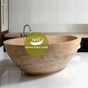 round bowl frrestanding natural travertine stone hand carved small bath tub for soaking bathing