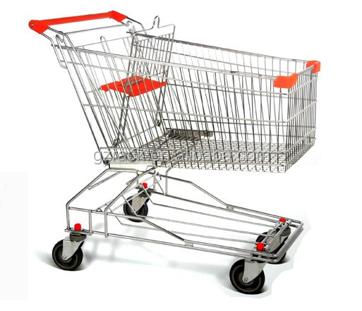 collapsible 4 wheels foldable supermarket guangzhou shopping trolley