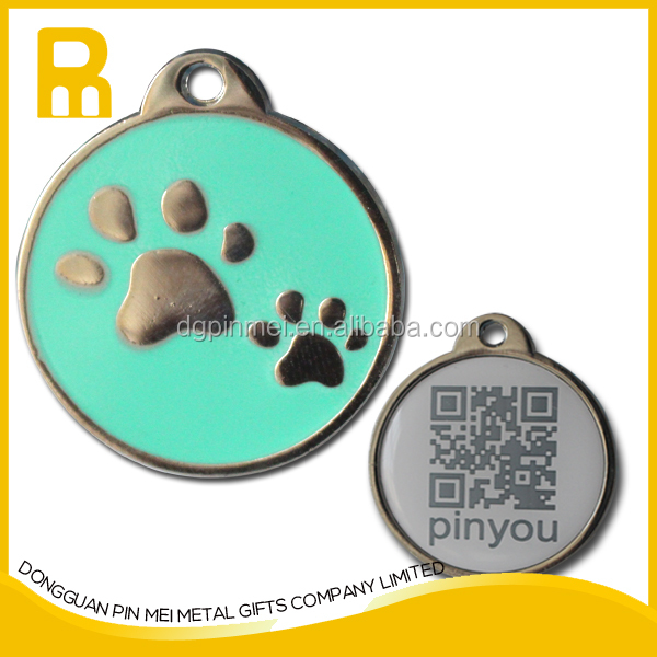 Paw dog tag- Custom ID no. with OR code or custome logo on the backside