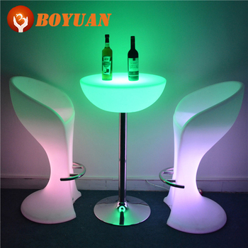 New Fashion LED Bar Chair PE Plastic RBG Glowing Outdoor Furniture Guangdong