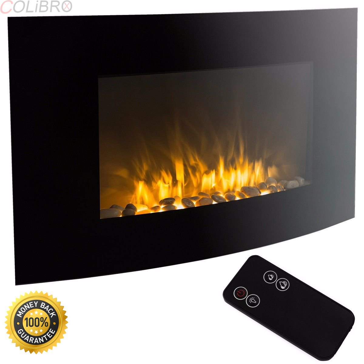 COLIBROX--1500 WATT Electric Fire Place Wall Mounted Heater W/ Remote Control Fireplace. Stunning Mountable Glass Fireplace Heats Spaces Up to 250 Sq/Ft; Ash & Smoke Free Design is Low Maintenance