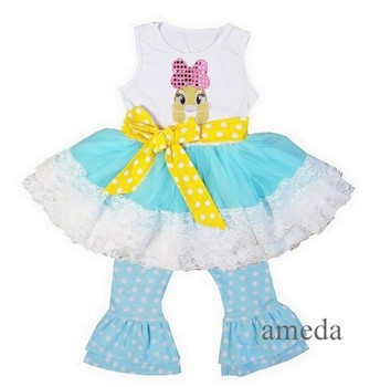 Girls White Blue Lace Easter Bunny Ruffled Top with Polka Dots Pants and Sash Outfit 1-6Y