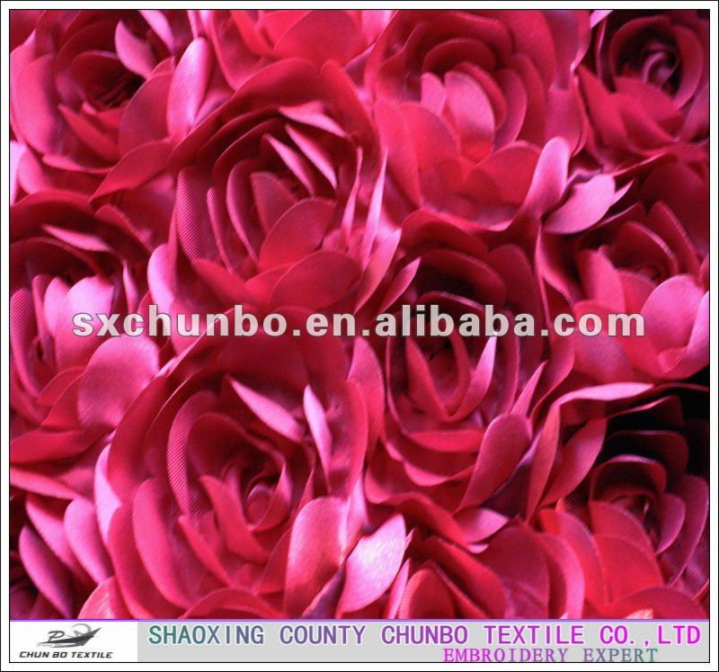 100% polyester satin ribbon tape embroidery with rose design fabric for fashion garment or garment accessorize