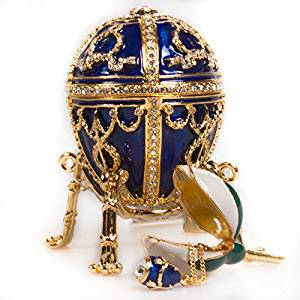 Flower With Pendant Faberge Style Easter Egg Jewelry Ring Holder Box