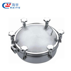 Promotional round hygienic circular manhole cover manway, pressure tank stainless steel manhole cover with sight glass