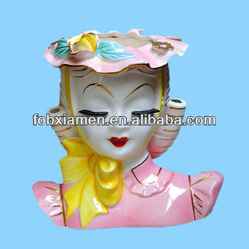 Pink vintage ceramic lady decorative head planter