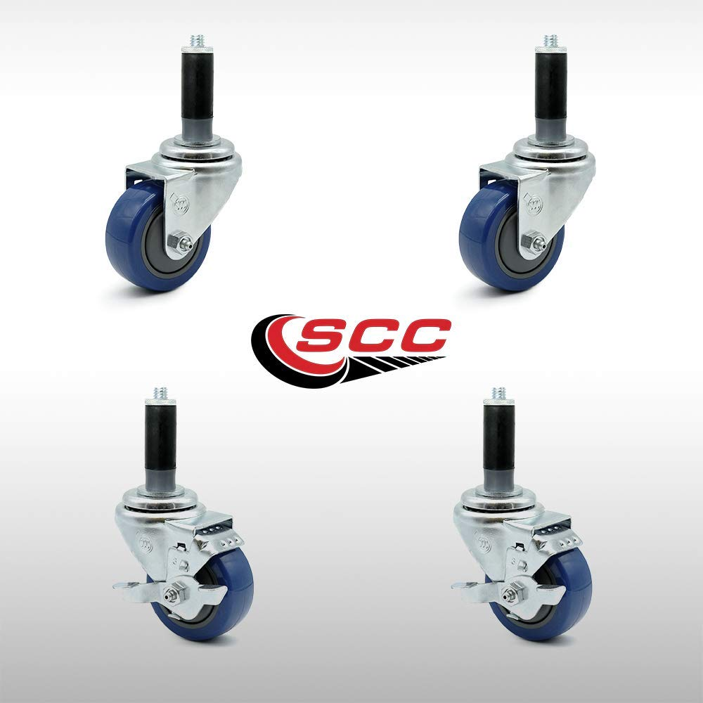 "Service Caster - 3"" x 1.25"" Stainless Steel Blue Polyurethane Wheels Caster Set of 4-2 Swivel Stainless Casters w/Brake w/1"" Expanding Stem/2 Swivel"
