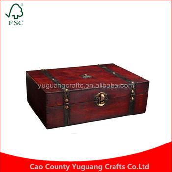 Chinese Antique Jewelry Retro Metal Storage Lock Wooden Box