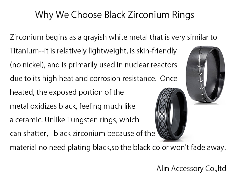 2019 Custom black zirconium ring jewelry titanium grooved rings for men