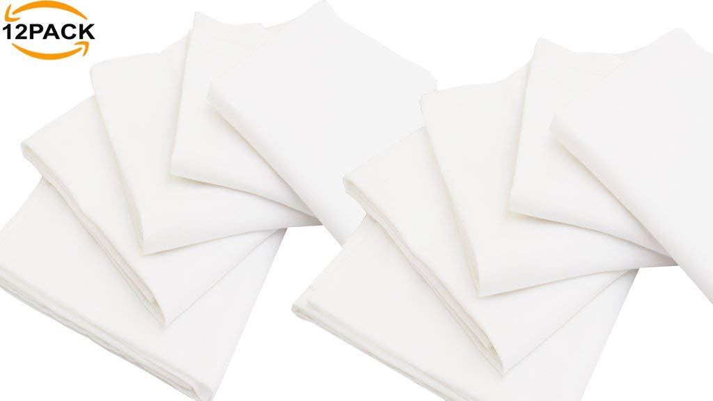 12 Pack Flour Sack Kitchen Towel Napkin, 100% Ring Spun Cotton, Pure White, Oversized, 28x28, Low Lint & Ultra Soft Fabric, Highly Absorbent, Multi Purpose & Versatile, Machine Washable