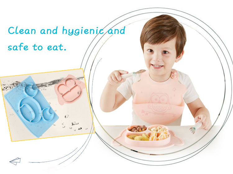100% Food Grade Silicone Bowl Baby Plate Silicon Kids Dinner Plate