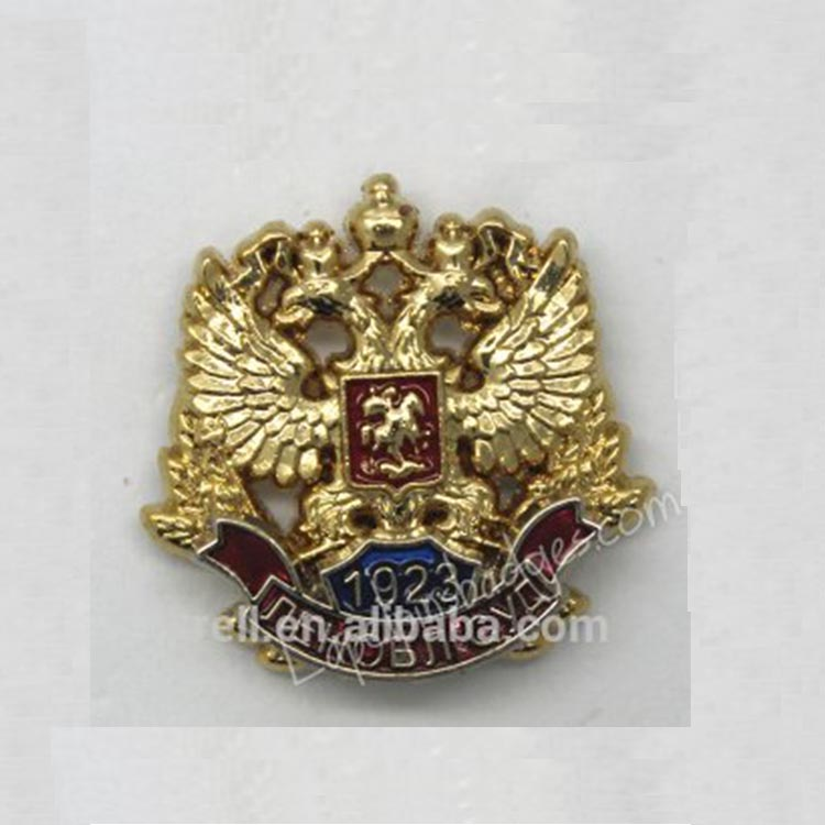 Gold Plating Enamel Lapel Pin Russia National Emblems