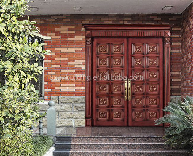 Solid wood oil painted main double door design wooden for Decorative main door designs