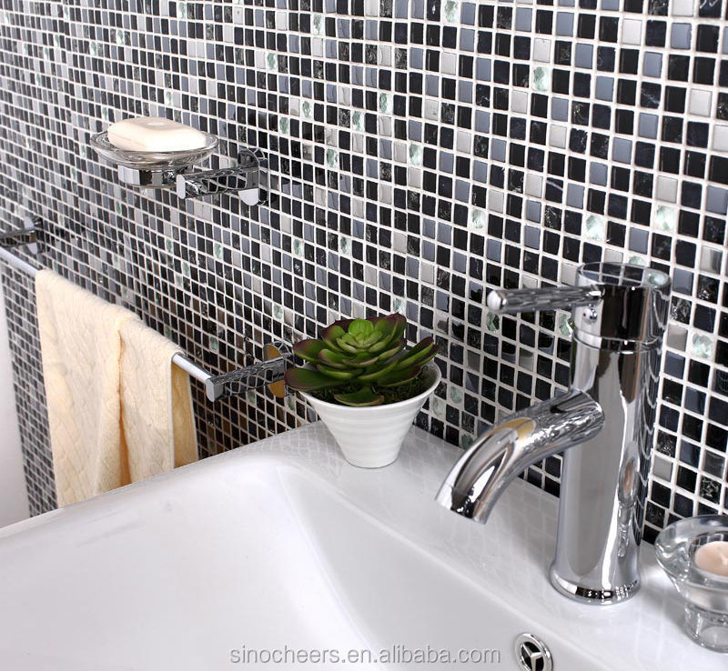 Gray stone black glass mosaic silver tile for kitchen wall for Bisazza carrelage