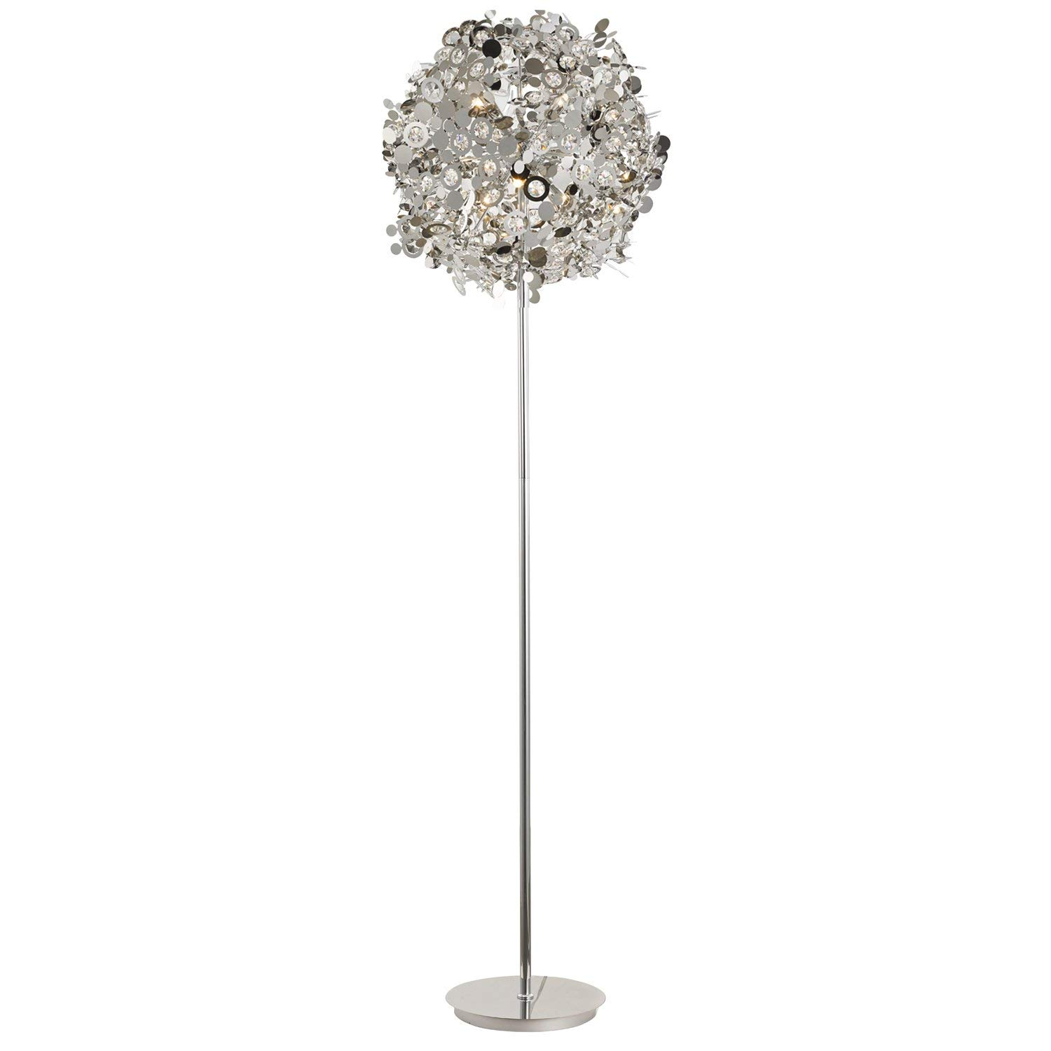 N3 Lighting Flower Ball Decorative G9 Floor Lamp, Metal Chrome Sheets with Crystal, Reading Lamp, Modern Design Tall Standing Pole Uplight Lamp Light for Living Room, Dorm, Bedroom, and Office