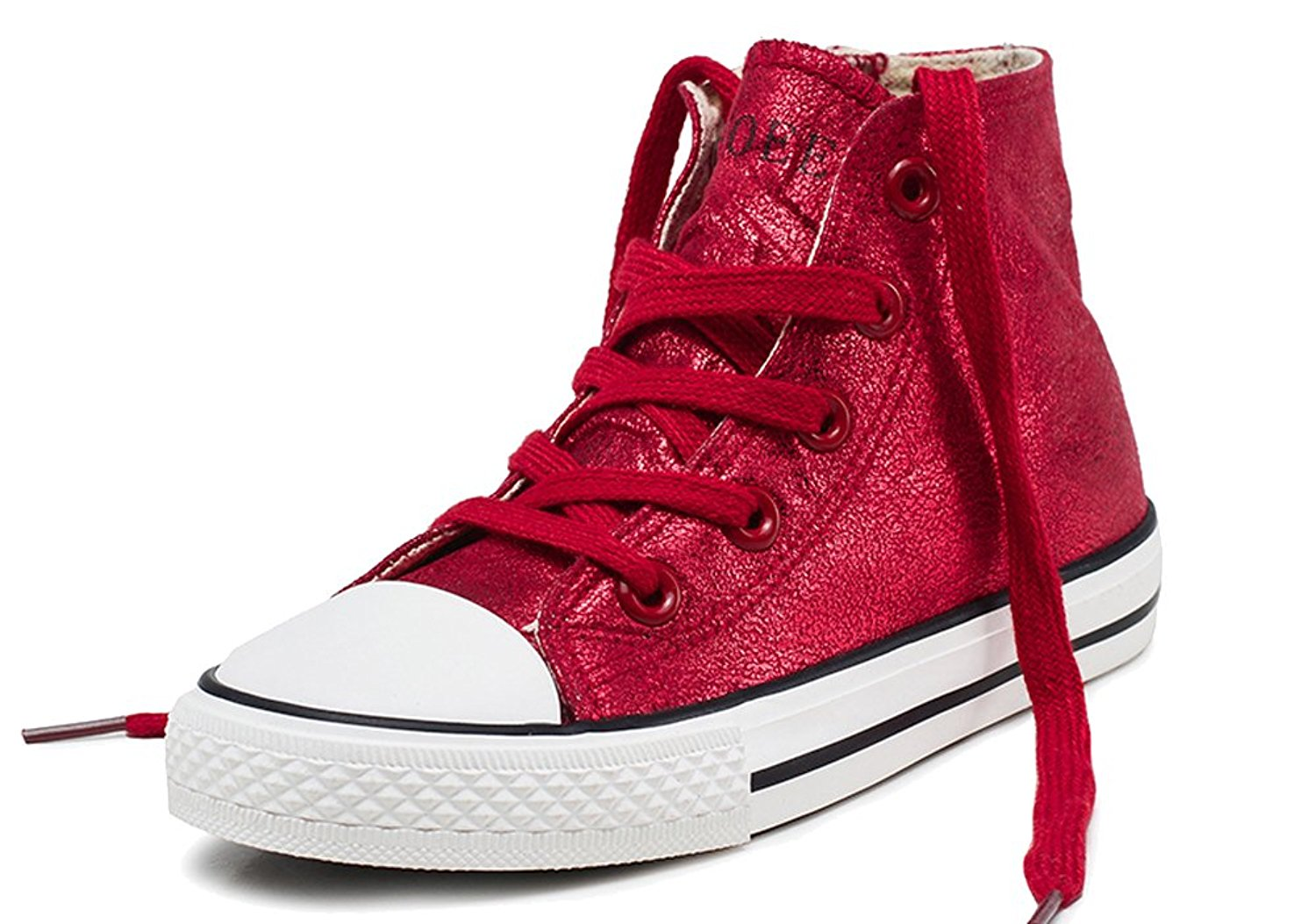 iDuoDuo Kids Fashion Metallic High Top Lace Up Sneakers Side Zipper Classic Canvas Shoes (Toddler/Little Kid)