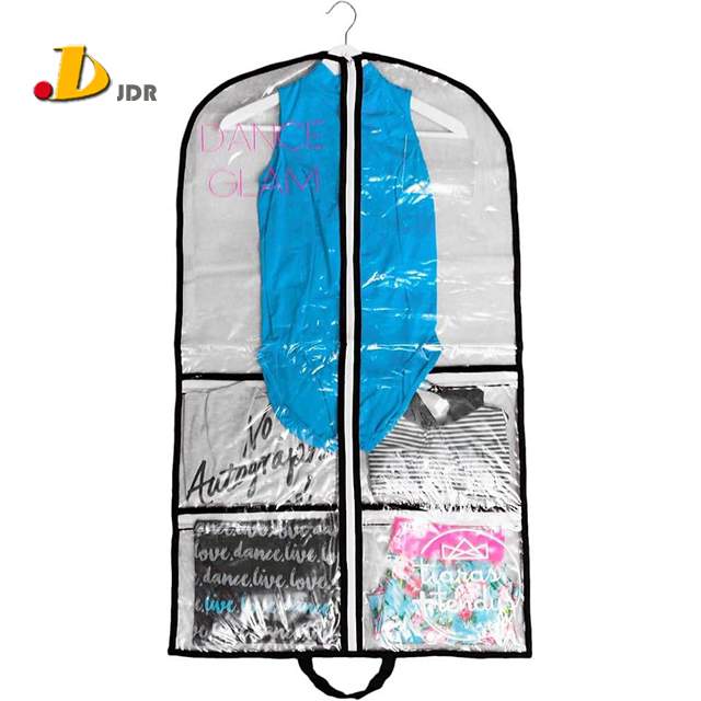 Fashion Dance Competition Clear Costume Garment Bag With Pockets