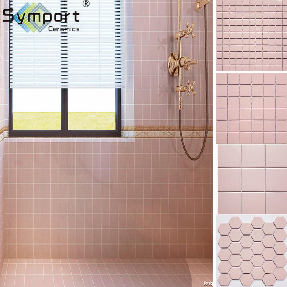 Pink Porcelain Ceramic Mosaic Floor