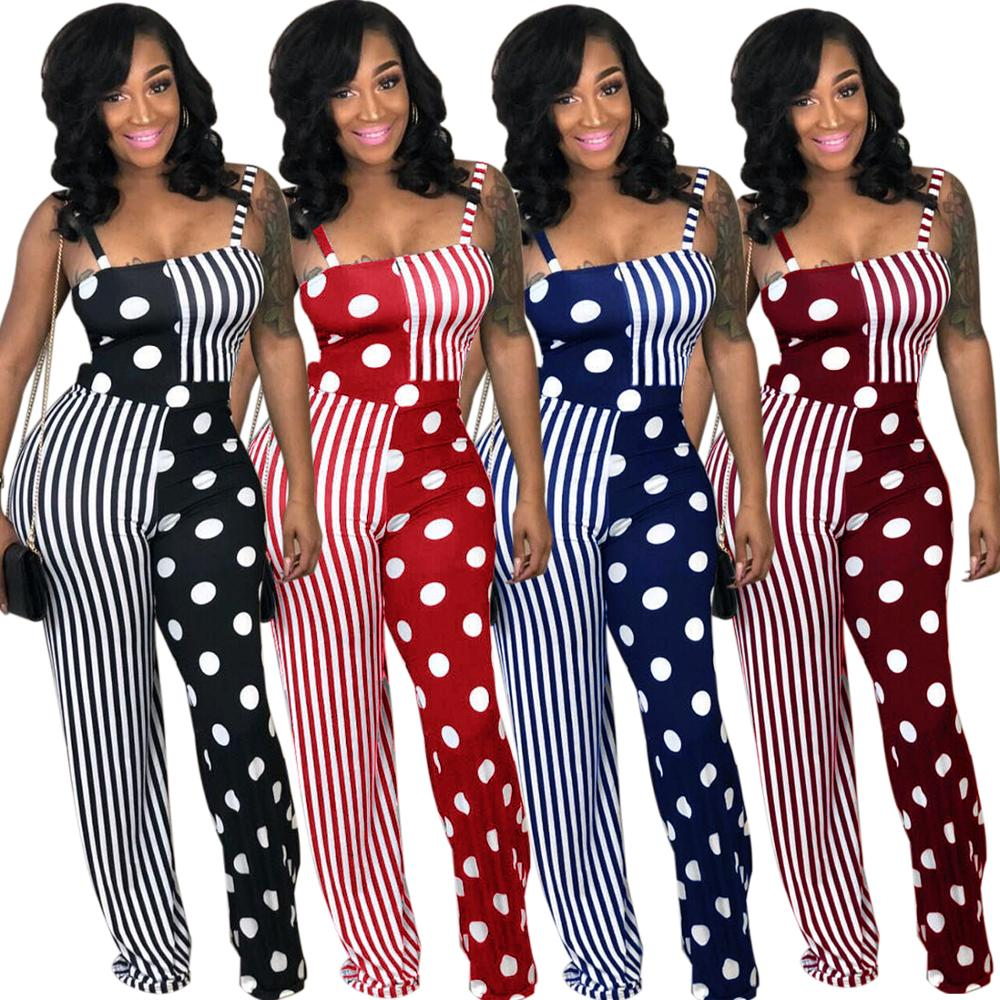 Zomer best selling dot en strip patchwork gedrukt backless sexy jumpsuits club wear