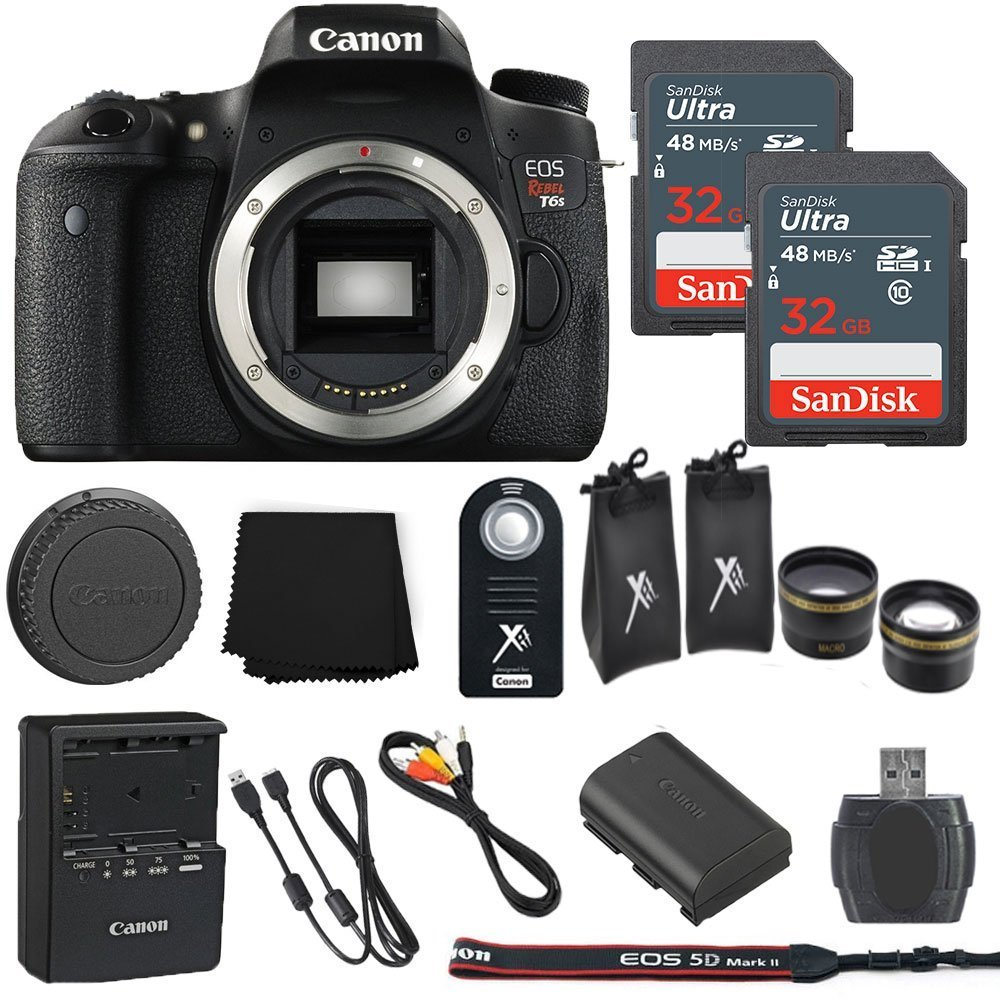 Canon EOS Rebel T6s 24.2MP Digital SLR Camera Body Only + 2 32GB Sandisk Ultra SD Cards + Macro and Wide Angle Auxiliary Lenses + Wireless Shutter Remote+ Memory Card Reader - International Model