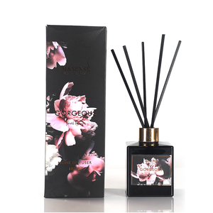 M&SENSE Gorgeous Collection Luxury Scented Black Glass Bottle Aroma Room Reed Diffuser