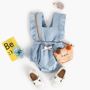 Sweetie Casual Baby Girl Rompers Cotton Denim Blue Bodysuits Romper