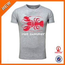 Red Crab printed 65% polyester 35% cotton wholesale promotional printing men's t shirt & best price