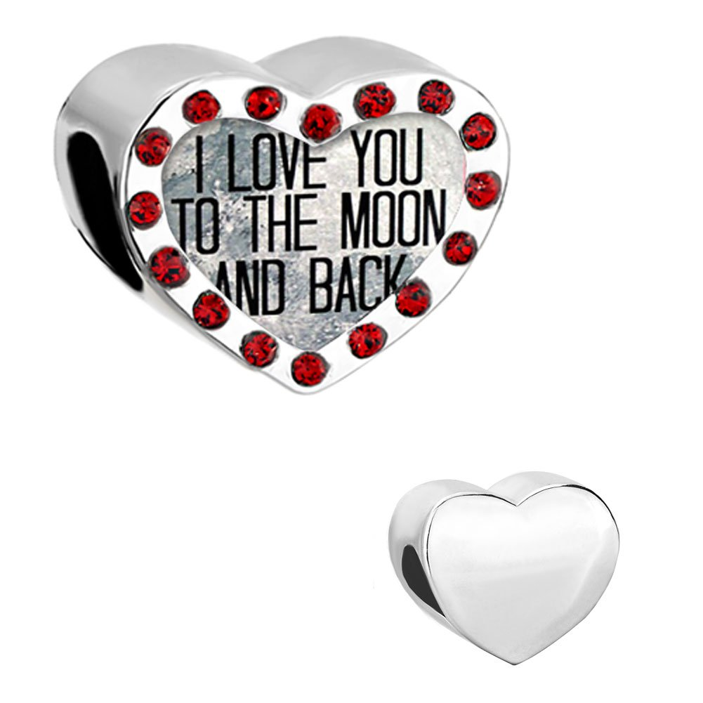 Pugster Jewelry Red Charms I Love You To The Moon & Back Heart Crystal Bead Fit Pandora Charm Bracelets