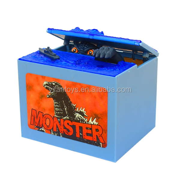 6602 Electric Creative Dinosaur Stealing Coin Money Boxes Saving Bank Toys with Light and Sound